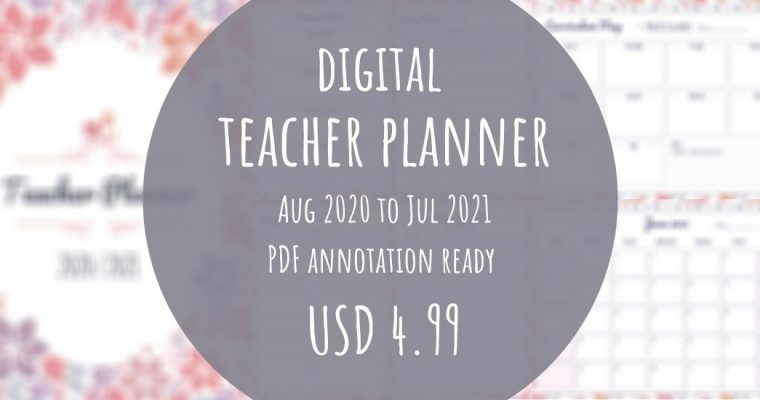 Best Digital Teacher Planner Jul 2020 – Aug 2021