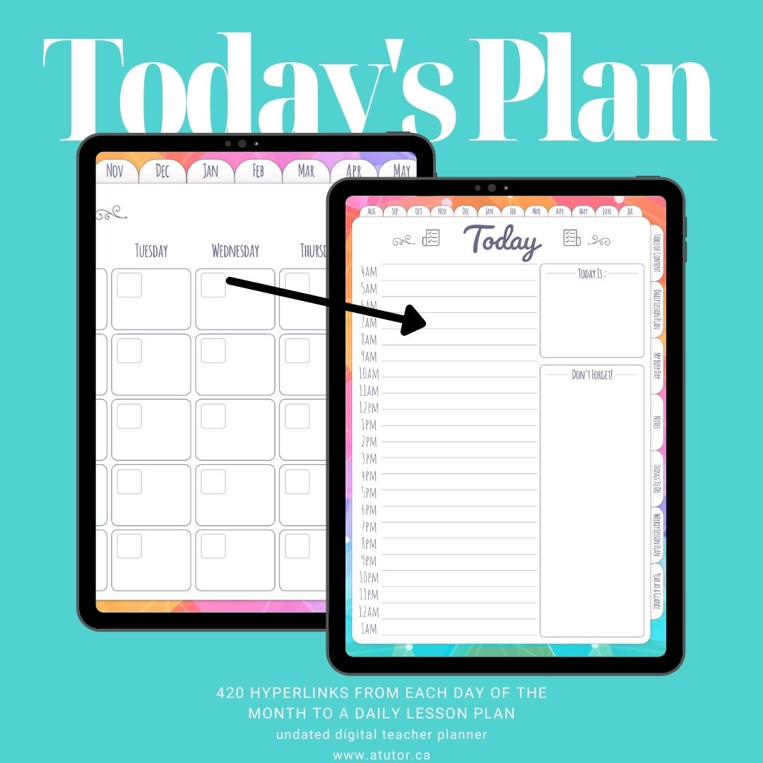 digital teacher planner daily lesson plan