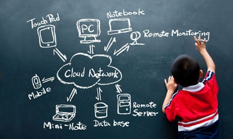 boy drawing cloud network